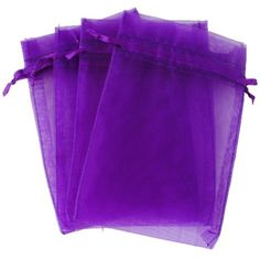 """Purple 4x6"""" 10x15cm Drawstring Organza Pouch Strong Favor Gift Candy Bag. Fill with candy Gems or m&m's"""