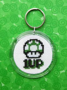 Super Mario Brothers 1 Up Mushroom Cross Stitch by WistfulBird, $10.00