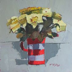 Yellow Roses by Mhairi McGregor RSW at Lime Tree Gallery in Suffolk & Bristol, England Acrylic Painting Flowers, Abstract Flowers, Floral Paintings, Paint Flowers, Abstract Paintings, Glasgow School Of Art, Painting Still Life, Small Art, Yellow Roses