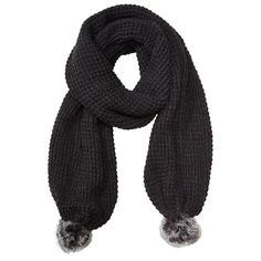 Textured Knit Pom Pom Scarf — Charcoal by Indigo | Cold Weather scarves Gifts | chapters.indigo.ca