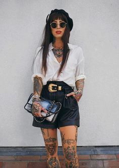 title says it all tbh Shirt - & Other Stories Shorts - The Kooples Loafers - Gucci Bag - Chanel SHOP IT: JavaScript is. Rock Outfits, Stylish Outfits, Girl Outfits, Fashion Outfits, Looks Rock, Look Fashion, Girl Fashion, Estilo Grunge, Sexy Shirts