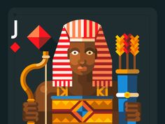 Four civilization, playing cards - Egypt Pharaoh designed by Beresnev. Connect with them on Dribbble; Cards On The Table, Jack Of Hearts, Face Profile, Powerpoint Background Design, Egyptian Art, Disney Wallpaper, Ancient Egypt, Vintage Posters, Pop Art