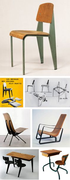 Chaise standard, fauteuil léger, fauteuil cité, bureau d'école, bureau d'enfant -  Jean Prouvé (1901-1984)