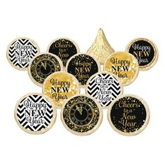 Black and Gold New Year's Eve Kiss Party Stickers - 324 Count - Happy New Year , New Years Wedding, New Years Eve Party, New Years Eve Kiss, Silvester Party, Water Party, Candy Favors, New Year Celebration, Happy New Year, Party Invitations