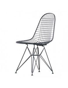Vitra DKR Wire  Ontwerp: Charles & Ray Eames  Luchtige variant van de Plastic Chair collectie  Materiaal: Zwart gepoedercoat staaldraad
