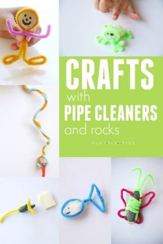 Pipe Cleaner Animals Made With Rocks - Activities For Kids Roundups - Animalplanet Pipe Cleaner Crafts, Pipe Cleaners, Creative Crafts, Fun Crafts, Indoor Activities For Kids, Family Activities, Motor Activities, Educational Activities, Pipe Cleaner Animals