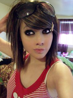 Emo hairstyles for medium length hair.
