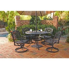 Transform your deck or patio with this aluminum Biscayne dining set. Available in a striking black color and made of cast aluminum, this five-piece set is luxurious and built to last. A center opening lets you add your own umbrella.