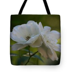 "White Rose Duet Tote Bag by Anna Porter (18"" x 18"").  The tote bag is machine washable, available in three different sizes, and includes a black strap for easy carrying on your shoulder.  All totes are available for worldwide shipping and include a money-back guarantee."