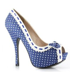 What's Ur Style 5 Inch Stiletto Heel Hidden Platform Peep Toe Polka Dot with Lace and Bow Details