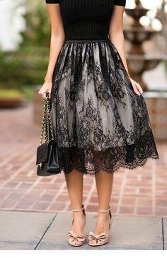 new arrival skirt street style skirt lace skirt fashion women skirt spring autumn skirt knee length skirt Lace Skirt Outfits, Lace Outfit, Mode Chic, Mode Style, Street Style Rock, Modest Fashion, Fashion Dresses, Jw Mode, Mode Kimono