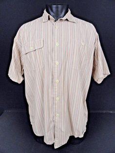 Orvis Shirt Striped Button Front Mens L Green White Orange SS Cotton 2 Pockets #Orvis #ButtonFront