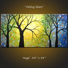 """Original Large Landscape Abstract Painting Modern Contemporary... 24 x 48 .. """"Falling Stars"""", by Amy Giacomelli"""