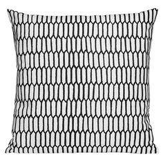 Scribble tyynynpäällinen, Kenno musta Sisustustyyny geometrinen kuvio mustavalkoinen