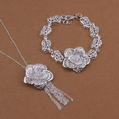 Sterling Silver Plated New Fashion Charm Flower Bracelet Necklace