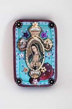Our Lady of Guadalupe box frame Mexican style with 3d cross beautiful box // turquoise burgundy // Mexican folk art