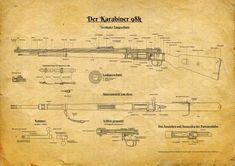 Mauser German Rifle Patent Print - Wall Art Decor, WWII army, militaria, gun patent art, b Blueprint Drawing, Ww2 Propaganda Posters, K98, Patent Drawing, Patent Prints, German Army, Deer Hunting, Printable Wall Art, Wwii