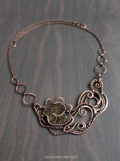 Copper necklace Wire wrap pendant ammonite by LenaSinelnikArt