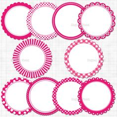 Hot pink scalloped circle frames / labels clip art by digitalfield