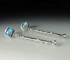 Sara Westermark: Byzantium Earrings No. 3, In sterling silver, 18k gold, labradorite cabochons, champagne diamonds, and blue topaz.