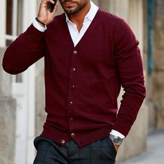 Men's Fashion Solid Color Button-knit Cardigan Knit Jacket, Knit Cardigan, Cardigan Outfits, Fashion Outfits, Mens Fashion, Fashion Top, Urban Fashion, Fall Outfits, Casual Outfits