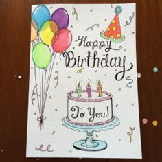 Birthday Card Happy Birthday to You Hand by FedeleDesign on Etsy, $7.95
