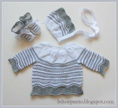 Set of cotton gray and white Crochet Baby Sweater Pattern, Baby Sweater Patterns, Knitted Baby Cardigan, Cardigan Pattern, Baby Knitting Patterns, Baby Patterns, Crochet Bebe, Knit Crochet, Baby Pullover Muster