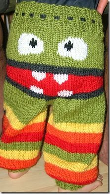 Knitted monster wooly trousers for toddlers