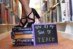 College senior pictures for a teacher, chemistry teacher, library