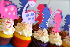 QTY 12 Girl Dinosaur cupcake toppers pink and by paperclever, via Etsy.