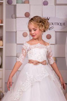 Ivory de encaje vestido de niña de las flores  cumpleaños