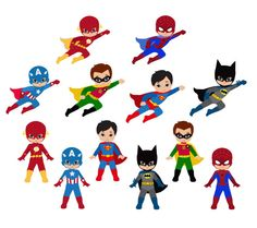Boy Superhero Clip Art / Little Boys Superheroes / Superboys Digital Clipart / Cute Super hero Boys Clipart for commercial use