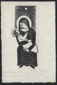 Eric Gill, Wooden Engraving, Madonna and Child