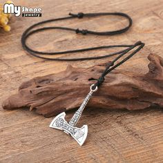 Nordic Viking Handle Axe Pendant Necklace Wolf Raven Double-sided Rune Silver Ancient Bronze Axe Necklace Pendant Necklaces Necklaces & Pendants