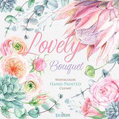 Acuarela flores Protea, ranúnculos, rosas Inglés, eucalipto, suculentas, gráfico pintado a mano, invitaciones, tarjeta de felicitación de boda