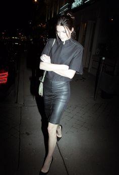 Kendall leaving Caviar Kaspia in Paris.