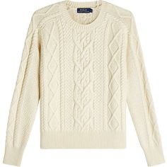 Ralph Lauren Polo Cable Knit Cotton Pullover (£125) ❤ liked on Polyvore featuring tops, sweaters, beige, cable knit pullover sweater, chunky white sweater, pullover sweater, cream cable knit sweater and chunky cable sweater