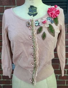 Knitted Dove Anthropologie Flowers Beads Lace Cardigan Sweater S | eBay