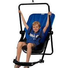 The Adjustable Angle Swing from Moving Mountains provides a comfortable swinging environment by adjusting the vertical or horizontal angle of the swing to match the needs of the user. Features a deep hugging seat, wide seat back, high-quality steel construction, vertical and horizontal angle adjusters, and a five-point harness system for extra security and comfort for those who have low or high muscle tone. The swing also features an adjustable foot rest to keep legs comfortable, too!
