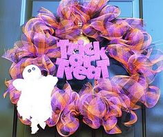 Halloween-treat or treat mesh wreath