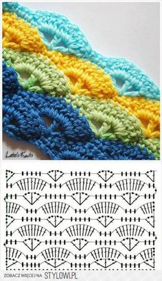 :-) Shell Stitch - Free Crochet Diagram - Pattern In Polish - (letesknits), Photo only w Pattern Chart, Such a pretty crochet stitch :), StI love this pattern! It was the second pattern I learned. Shell or wave crochet pattern - they have the pattern