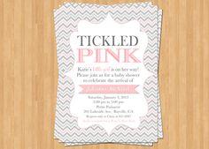 Baby Shower for Girl: Tickled Pink Printable Invitation Girl Baby Sprinkle Olive Press Paper