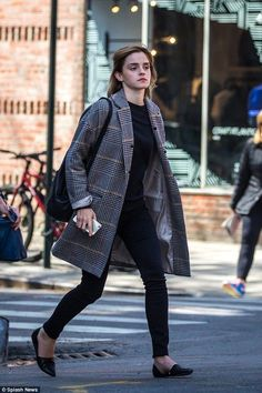 Emma Watson nails off-duty chic in structured checkered coat in NYC - Celebrity Fashion Trends