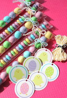 Easter treat bags with bakers twine and cute tags!