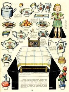 Happy Hearts At Home: Printable Paper Doll Table Setting