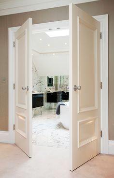 Iris 2-Panel White Bespoke White Internal Doors, Internal Door Handles, Black Door Handles, White Doors, White Fitted Wardrobes, Fitted Wardrobe Doors, Wardrobe Door Handles, Paneling Remodel, Primed Doors