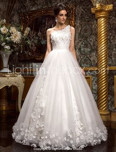 A-line/Princess One Shoulder Floor-length Tulle Wedding Dress - USD $ 599.99