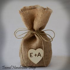"SET OF 50  Natural Rustic Burlap Wedding Favor Bag or Gift Bag 4"" x 8"" with Personalized Wooden Heart"