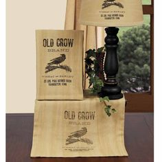 Old Crow Table Runner shown with decorative towel and lampshade. All available @ CountryPorchHomeDecor.com