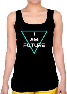 i am future Oguz Q Hediye Özel Tasarım tumblr ingilizce üçgen Kendin Tasarla - Bayan Kare Yaka Atlet